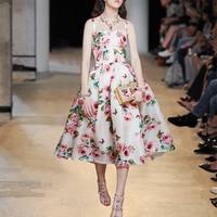 Runway Dress 2018 Spring Summer Designer Women Vintage Elegant Floral Print Sleeveless Spaghetti Strap Midi Dress vestido
