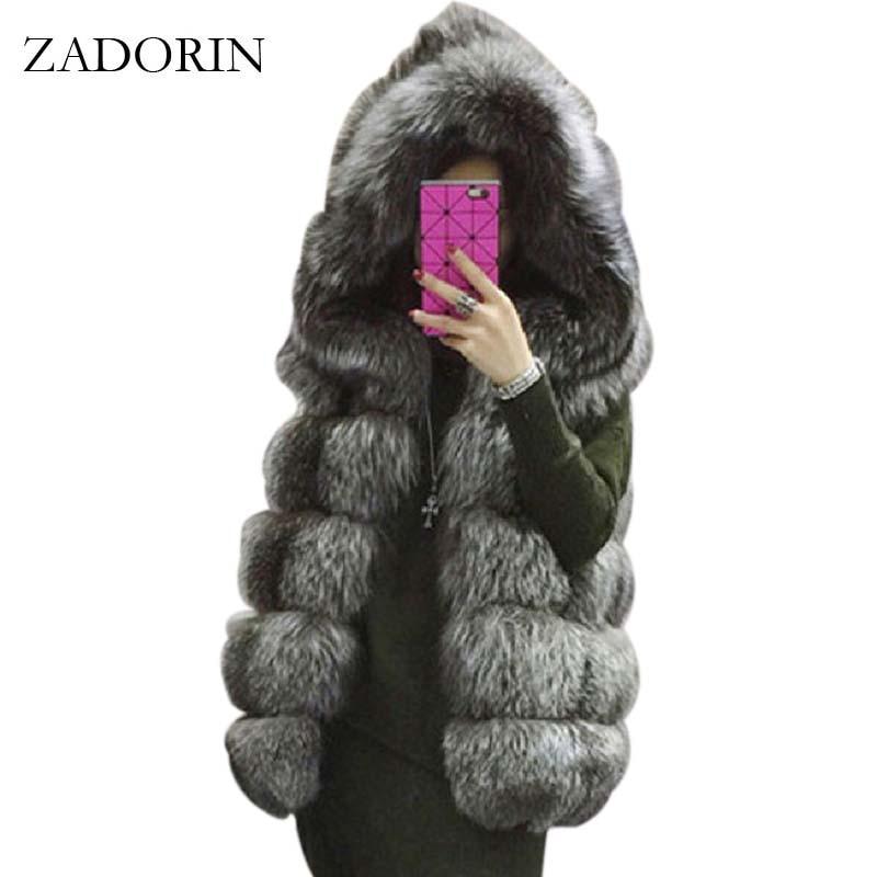 ZADORIN S 4XL Female Hooded Fur Coat 2019 New Winter Thick Warm Faux Silver Fox Fur