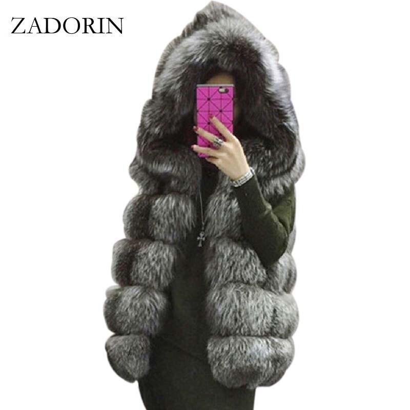 ZADORIN S-4XL femme à capuche manteau de fourrure 2019 nouveau hiver épais chaud Faux argent fourrure de renard gilet femmes de haute qualité Cappa mode Cardigan