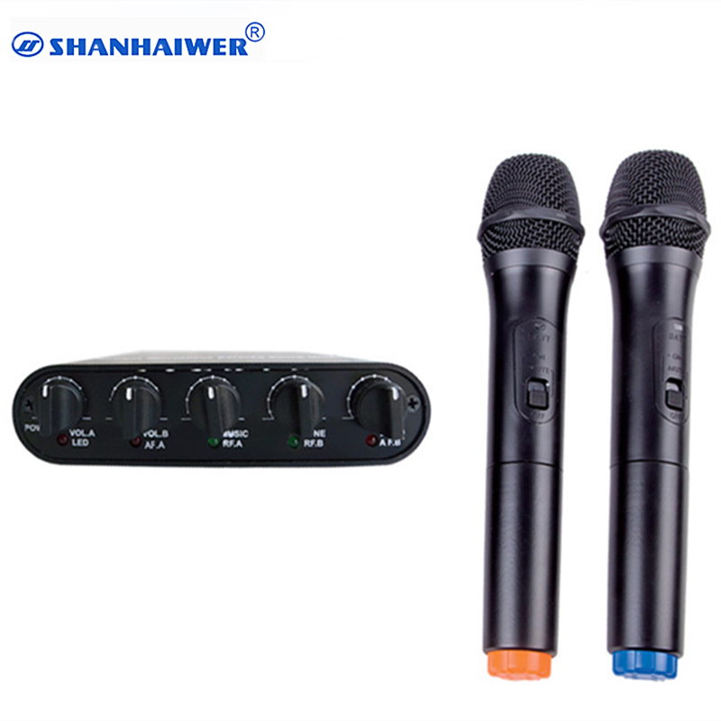 Original VHF dual channel handheld wireless microphone with mixer good shell KTV cordless Megaphone Compatible with TV computer