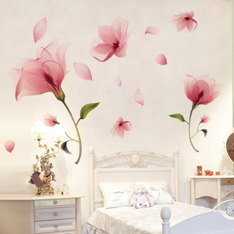 [SHIJUEHEZI] Pink Flowers Wall Decals PVC DIY Plant Wall Stickers for Parlour Student Dormitory Wedding Bedroom Decoration