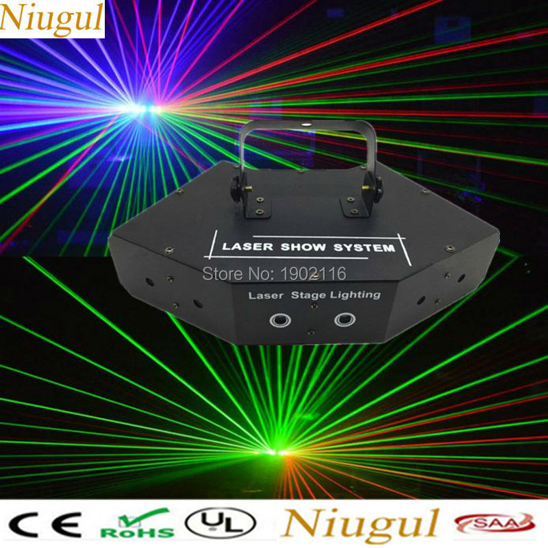 Niugul RGB laser/dj lighting/LED stage effect lights/laser projector/Full color DMX512 LED Beam light/KTV DISCO home party lamps new full color laser dj party disco light led rgb downlight laser projection stage lights channel par64 dmx512 lighting