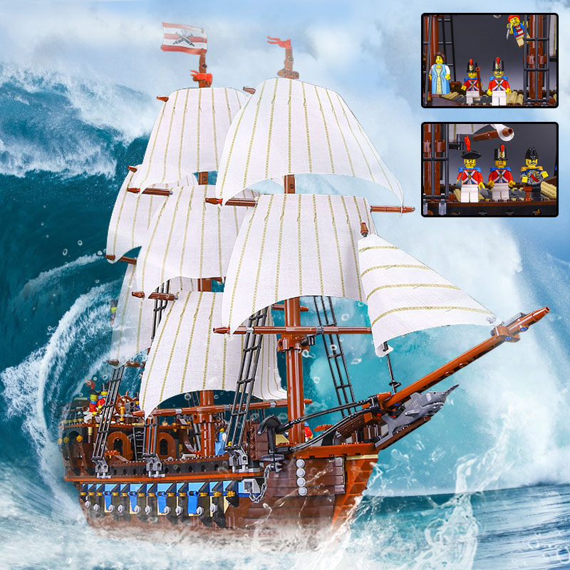 NEW LEPIN 22001 Pirate Ship warships Model Building Kits Block Briks Boy Educational Toys Model Gift 1717pcs Compatible 10210 lepin 22001 imperial warships 16002 metal beard s sea cow model building kits blocks bricks toys gift clone 70810 10210