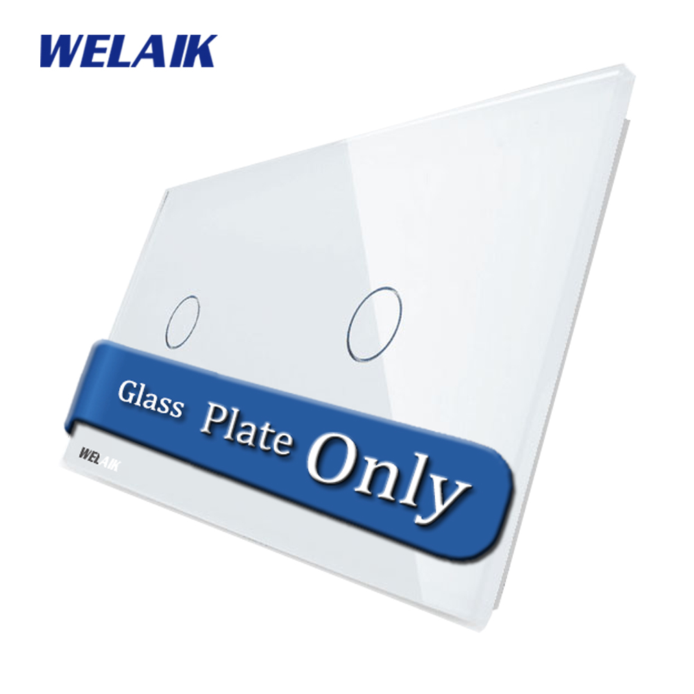 WELAIK  Touch Switch DIY Parts  Glass Panel Only of Wall Light Switch Black White Crystal Glass Panel 1Gang+1Gang  A2911W/B1 only a promise
