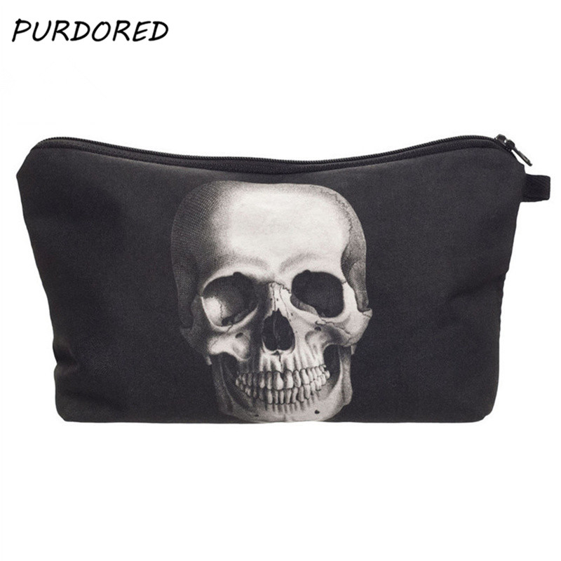 PURDORED 1 Pc 3D Printing Makeup Bags Skull Monster Cosmetic Bag Weeding Bride Makeup Organizer Pouch Travel Toiletry Bag