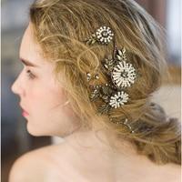 Metal Bride Hair Combs Gold Leaves Pearl Flowers Wedding Hair Accessories Handmade Bridemaid Hair Jewelry Bridal