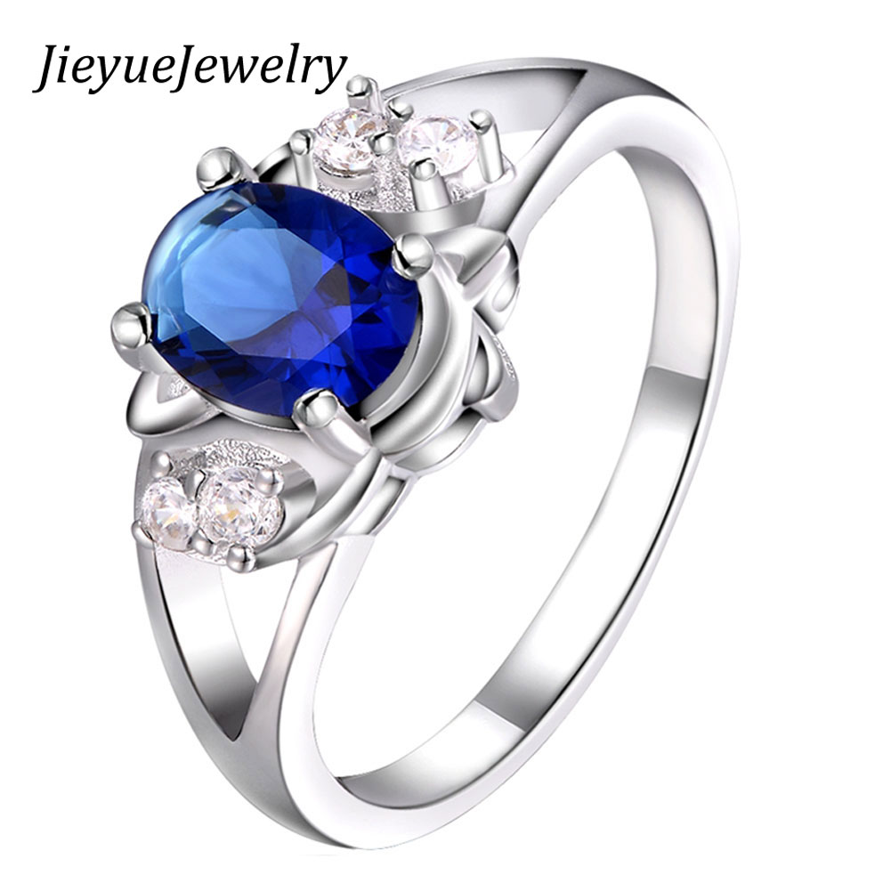 Hot sale New Design Accessories Silver Plated Fashion Ring Noble Luxury Elegant Charm Zircon Blue Crystal rhinestones Rings
