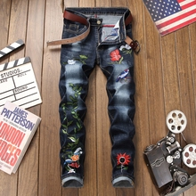 2019 New brand floral embroidery jeans men blue straight cotton casual breathable homme denim trousers plus size 38 male jeans