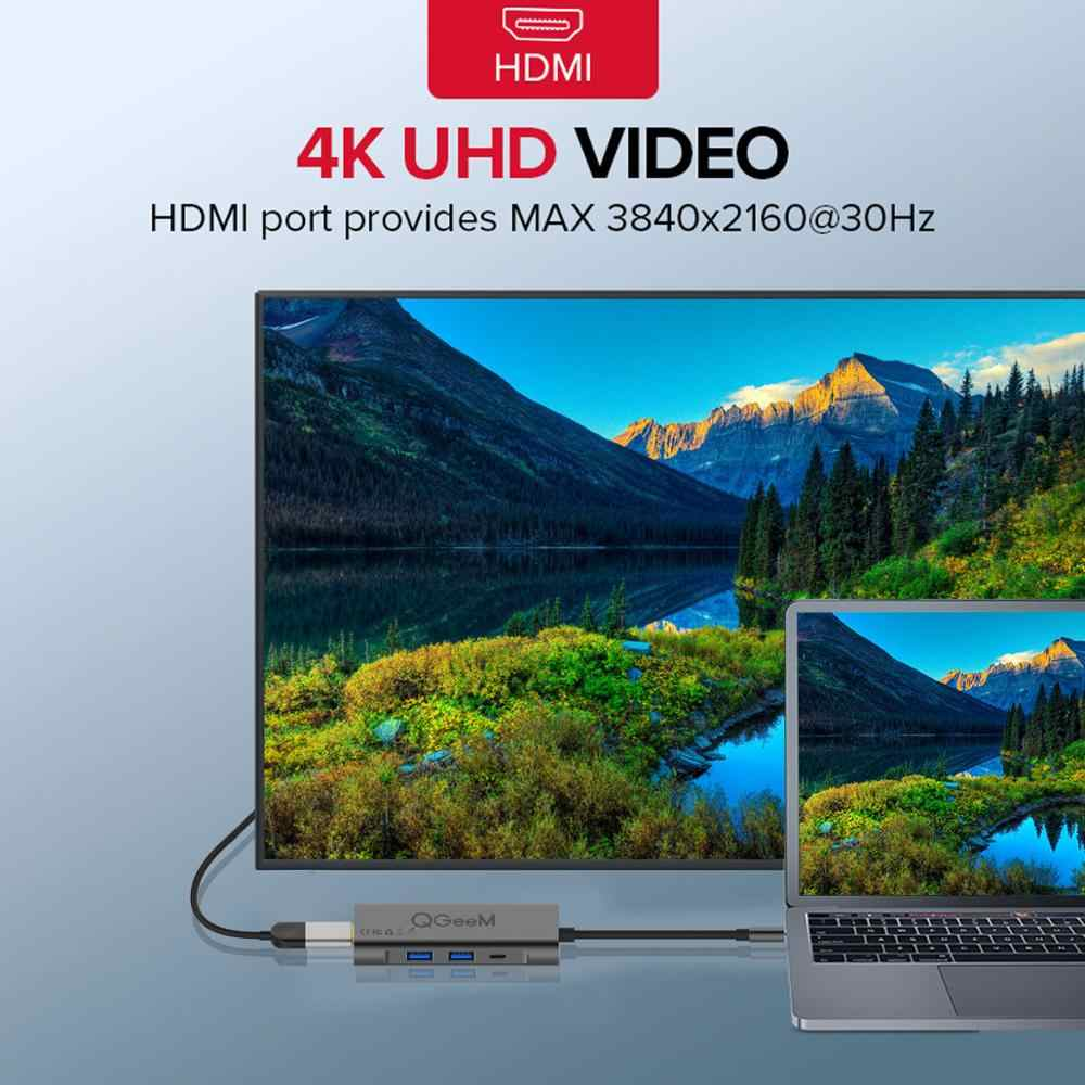 QGeeM USB C محور HDMI نوع-C محور إلى Hdmi USB 3.0 الصاعقة 3 قارئ بطاقات ل ماك بوك 2018 mate20 p30 glaxy S9 S10 USB C محور