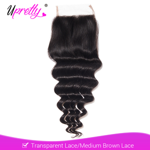 Upretty 4x4 Transparent Lace Closure Brazilian Loose Deep Wave Remy Human Hair Closure Free Middle Three Part Natural Color