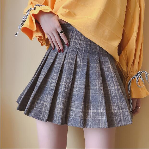 f0f1457446 Fashion Autumn Winter Skirt Women Lady Schoolgirl Sexy Short Gray Navy  Plaid Pleated Skirt Mini Check Skirts Women Faldas Saia