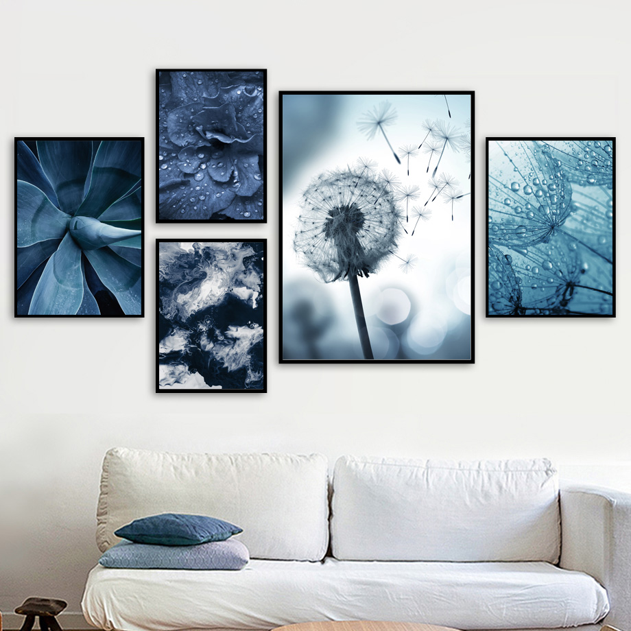 Blue Dandelion Leaves Succulents Plant Wall Art Canvas Painting Nordic Posters And Prints Wall Pictures For Living Room Decor