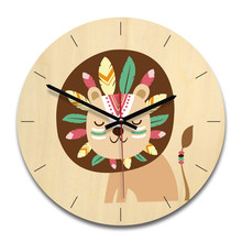 Wooden creative wall clock home cartoon living room round decoration