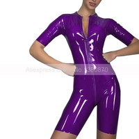 Sexy Latex Women Tights Bodysuit Costume Short Sleeves Legs Rubber Latex Catsuit Clothes S LC286