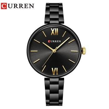 CURREN-Reloj de lujo para Mujer, de acero inoxidable, pulsera de cuarzo, regalo