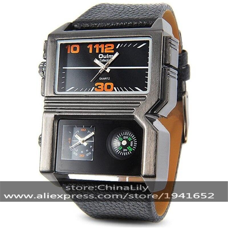4023495fe62 2017 Negócio dos homens OULM 3561 Quartz Relógios de Pulso Pulseira de Couro  Oversize Sub Mostradores Compass Dual Time Exibição Movimento Japão