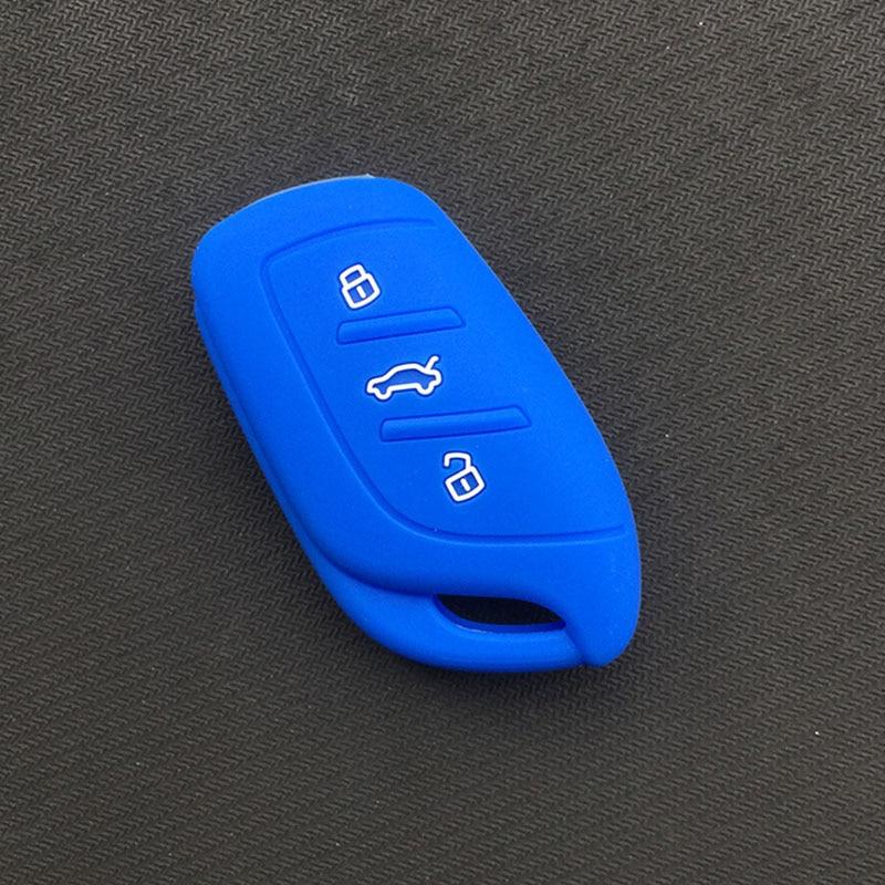 Силиконовый резиновый чехол для автомобильного Брелока Для MG ZS EV HS 3 кнопочный ключ - Название цвета: Синий