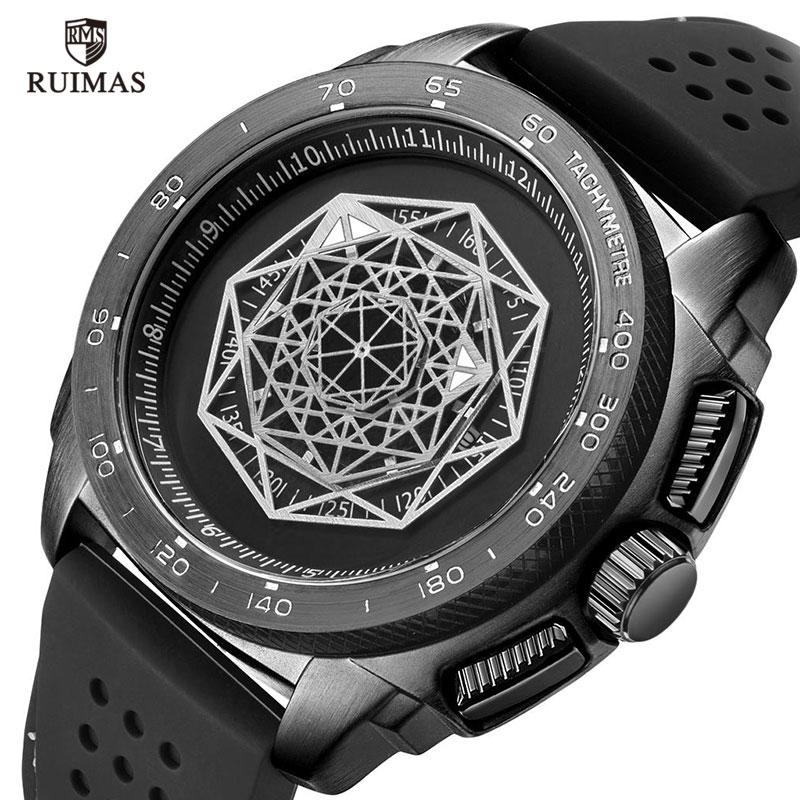 Relógio de Pulso Relógio de Quartzo do Exército Ruimas Silicone Esportes Relógios Masculinos Moda Causal Masculino Homem Luxo 554 Preto