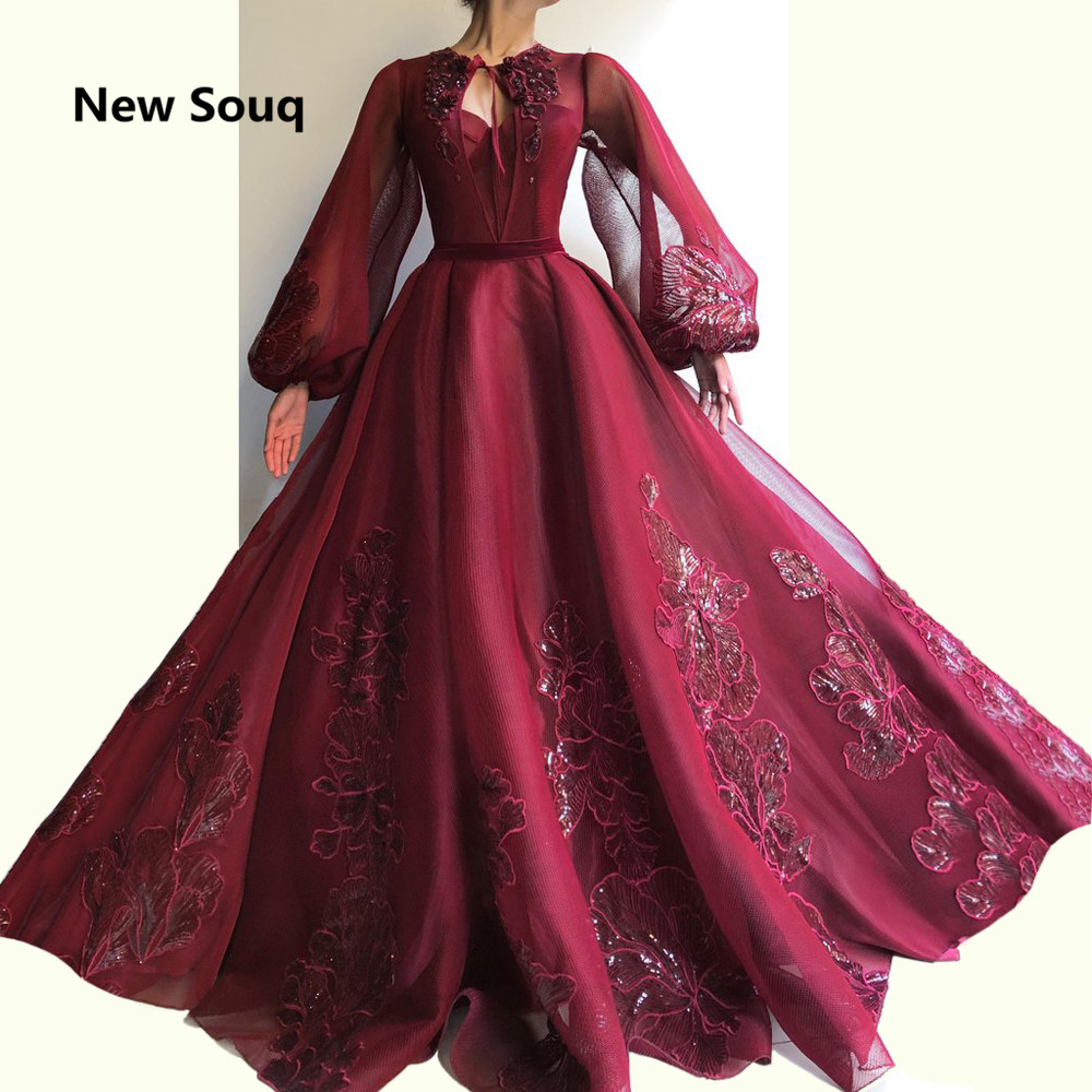 South Africa Arabic Burgundy Evening Dresses Puffy Tulle Long Sleeves Applique Evening Gowns Sweep Train Long Prom Dress 2019