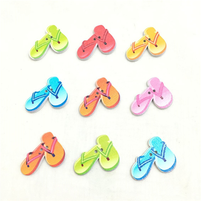 db5b1a72b 30pcs 2 Holes flip flop Wooden buttons Mixed 24 30mm For handmake  Scrapbooking Crafts 7NK204