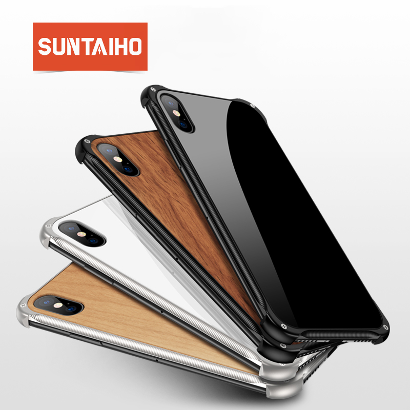Suntaiho funda iphone 7 8 plus para iPhone XS Max case lujo madera Metal marco fundas para iPhone 7 XS MAX XR X 7 plus 8 case cubierta de lujo palo de rosa cereza