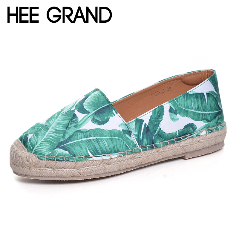 HEE GRAND 2017 New Loafers Weave Straw Ballet Flats Casual Fisherman Shoes Woman Slip On Comfort Print Women Shoes XWD5999 the new straw linen canvas shoes men and women weave fisherman couple flats shoes