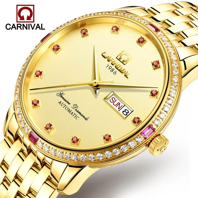 Reloj de Carnaval hombres rojo diamante Dial automático mecánico de acero inoxidable resistente al agua semana fecha relojes de oro reloj masculino-in Relojes mecánicos from Relojes de pulsera    1