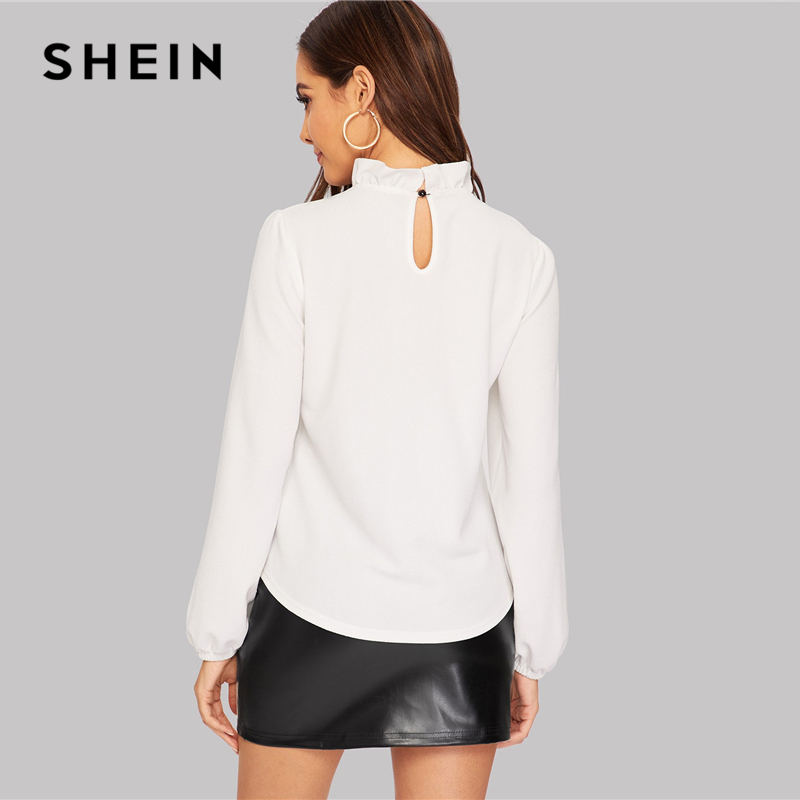 SHEIN White Tie Neck Buttoned Lace Trim Keyhole Back Blouse Elegant Frill Stand Collar Long Sleeve Tops Women 2019 Plain Blouses