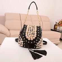Лидер продаж модные женские туфли с кисточками рюкзак роскошные дамы сумка декоративные пуговицы плечи и через рюкзаки женская сумка BB30
