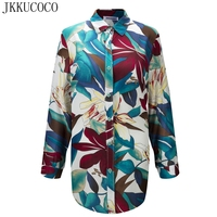 JKKUCOCO Chinese Style Flowers Print Women Shirts Single Breasted Casual Shirt Thin Material Cotton Shirt Women