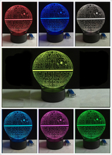 2017 Force Awakens Multi colored Death Star Table Lamp 3D Death Star Bulbing Light Touch Switch