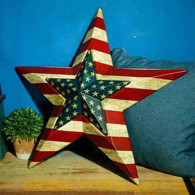 Pentagram American Flag Vintage Wooden Painting Tin Signs Bar Pub Gallery Shop Wall Decor
