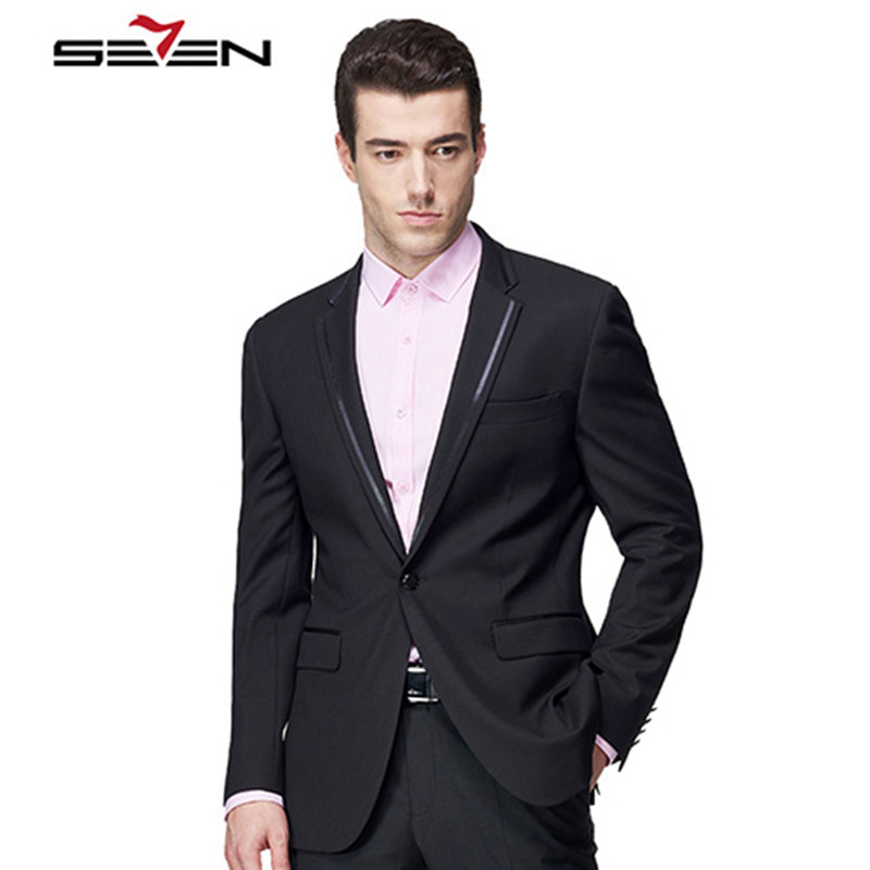 Seven7 Luxury Brand Suit Jacket For Men Slim Fit Vintage Classic Custom Made Black Blaze ...