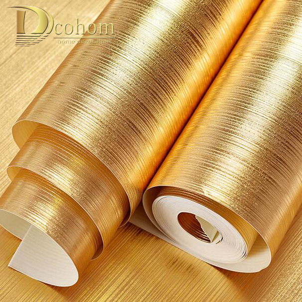 Aliexpress Com Buy High Quality Thick Flocked Modern: High Quality Plaid Textured Striped Gold Foil Wallpaper