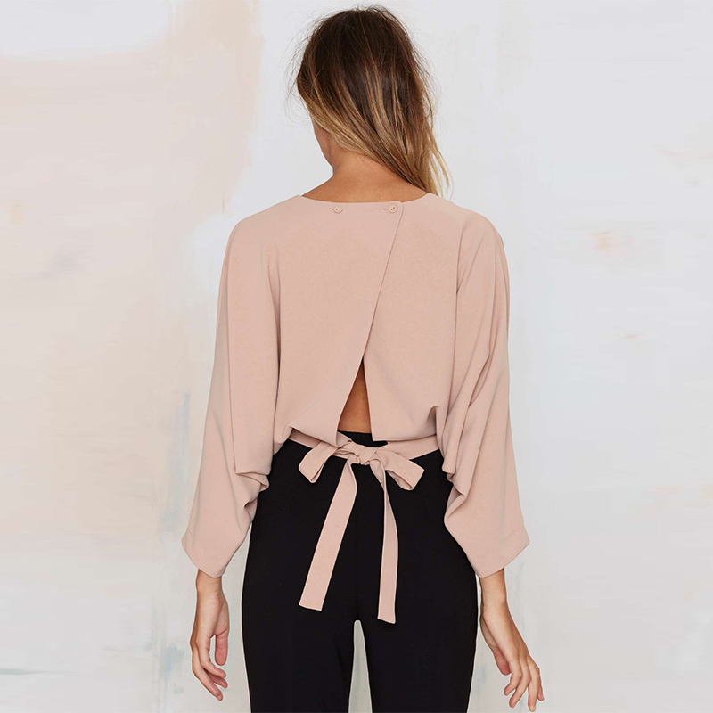 New shirts Tops Quarter Sleeve Buttons Lady T Drawstring Solid 2018 Summer Light Womens Crop Pink Three Fashion Backless RvHZ51qy