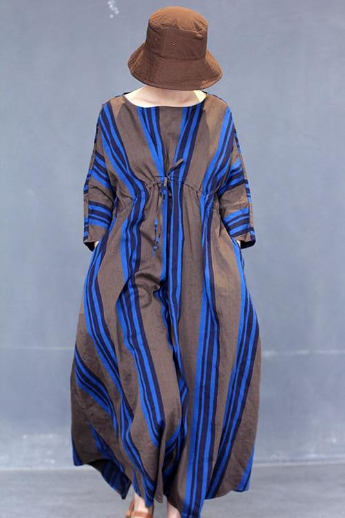 Summer Long Blue Vertical Striped High String Waisted Women Cotton Linen Dress Loose Cool Unique Novelty