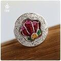 SUNDRUM anillo de plata 999 mujeres anillo de promesa de compromiso anillos de boda anillo de la venda ajustable bordado de LETRAS GRATIS