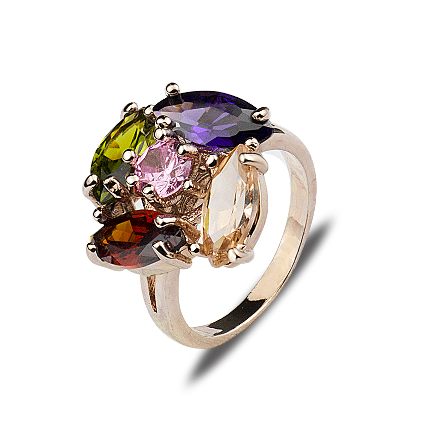 2017 Fashion Multishaped And Multicolor Shiny CZ Stones Cocktail Rings Rose Gold Color Jewelry For Women Anillos Bridesmaid Gift