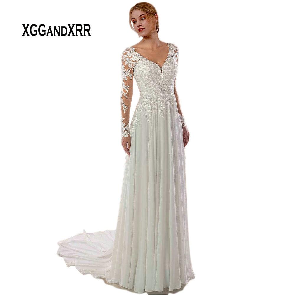 Sexy Vestido De Noiva 2019 Chiffon Long Sleeves Wedding Dress V Neck Backless Court Train Lace