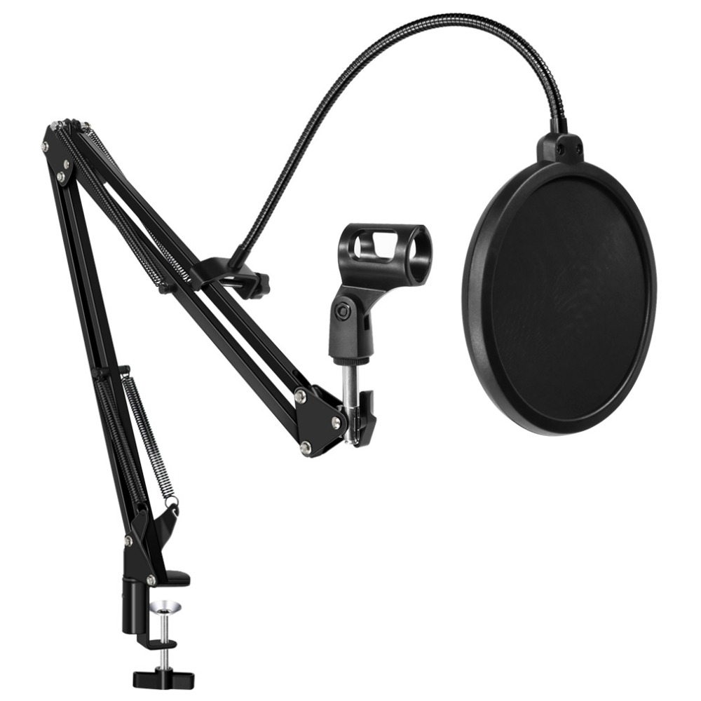 Microphone Stand Filter For BM800 Holder Arm Studio Professional Stand For Microphone Clip Mounting Windscreen Mask Mic Stand