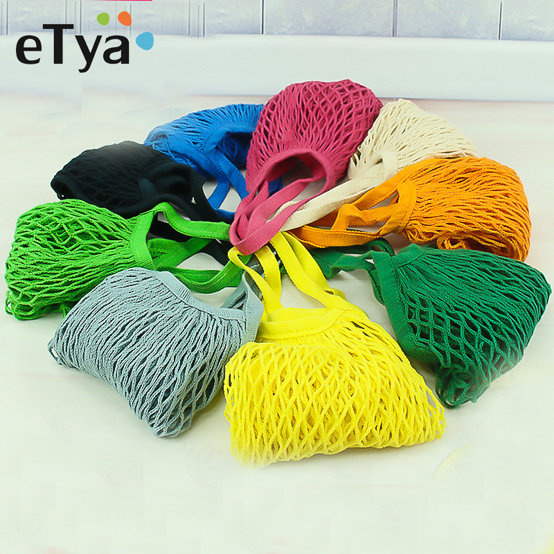 eTya New Reusable String Shopping Bag Large Capacity Fruit Food Grocery Bag Tote Mesh Net Foldable Women Shopping Handbag цена 2017