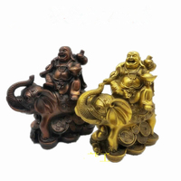 china buddhism bronze wealth Elephant coin gold bag happy laugh Maitreya Buddha Home decoration handicraft statue