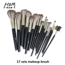 цены 17PCS Makeup Brushes Set Foundation Eyeshadow Powder Brush Professional Nylon Hair Brushes for Makeup Cosmetic Tools Kit YA213-1