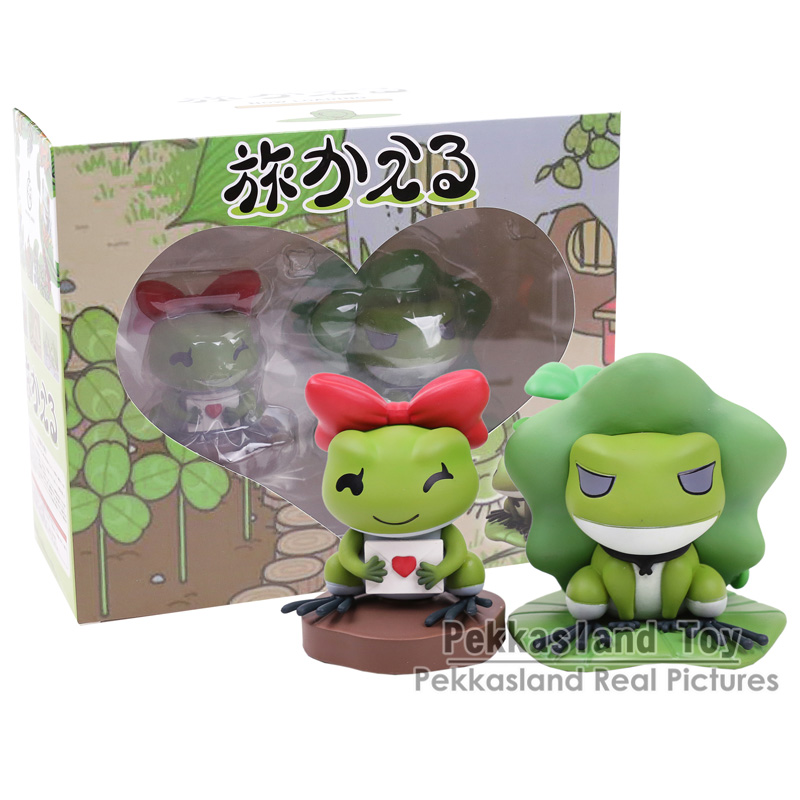 Travel Frog PVC Figures Collectible Model Toys Kids Childrens Christmas Gifts 2pcs/set 8CM