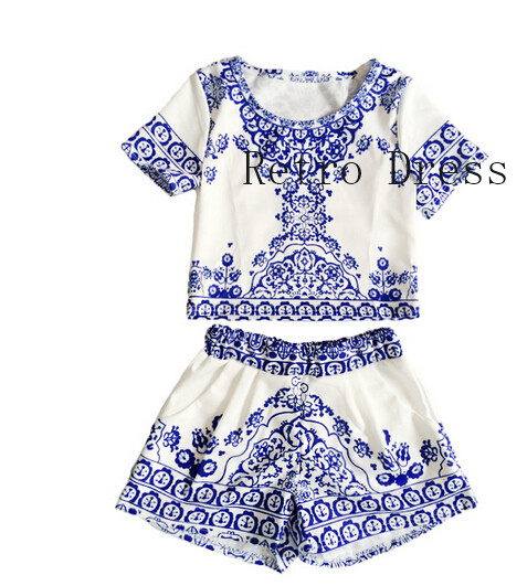 ce180a1456 2016 New Arrival Two Piece Porcelain Short Jumpsuit Women Crop Top Playsuit  Vintage Tropical Style Party Rompers Womens Jumpsuit-in Rompers from Women s  ...