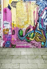 Laeacco Unique Graffiti Painted Wall Floor Grunge Photography Backgrounds Customized Photographic Backdrops For Photo Studio