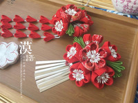 2017 Japanese Handmade Ornaments Hairpin Classical Red Headdress Party Wedding Accessory O