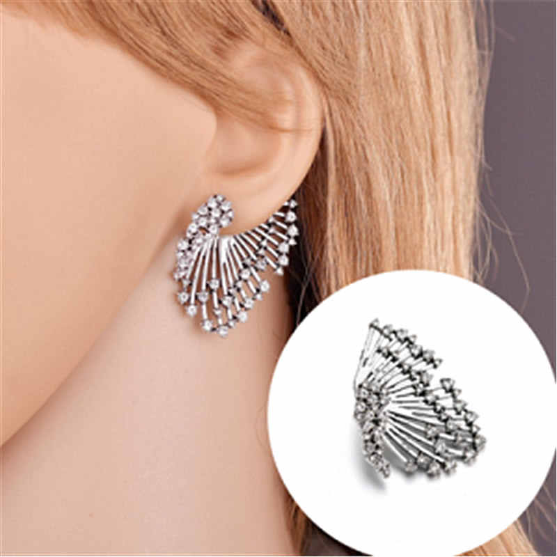 Crystal Rhinestone Wing Earring Vintage Angel Wing Statement Stud Earrings Metal Women Brincos Fashion Jewelry Accessories 1PCS!