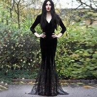 Gothic mix Dress Women 2018 Vintage Long Sleeve Dresses lace black Elegant Dress Female autumn long Party Goth mermaid dress