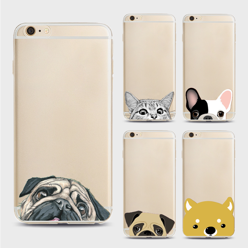 Fundas Mobile Phone Bags Case Cover for Iphone 6 6s 6Plus 7 7s 7plus Soft TPU Transparent Soft Cute Animal Cat Dog Printed Style
